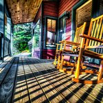Front deck of the Cascade cabin. (C) J Headley Aug 2014