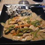 pollo al curry verde con riso