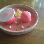 Pré-dessert raffiné : rhubarbe et blanc manger d'amande