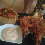 lovely gambas cooked at the table for us