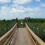 Crossing the bridge, part of the hike to the Hoyo Azul. Beautiful.