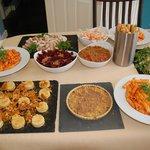 Buffet- chicken gallantine + puddings
