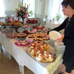 Table loaded with lovely cakes