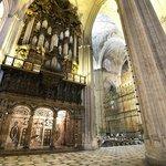 Enormous pillars inside the church