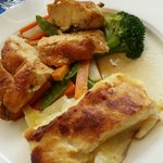 Corn-fed Chicken Breast with Vegetables and Potato Gratin