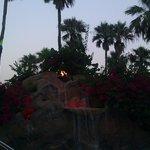 evening fire waterfall