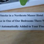 Notice in our room (and probably all rooms).