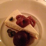 Cheesecake with caramel sauce and blueberry sorbet