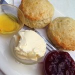 cream tea with jam, syrup and clotted cream