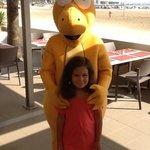 con Goldy, la mascota.