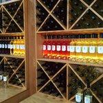 Beautifully displayed wines in tasting area.