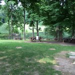 Picnic tables toward the pond.