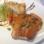 Salmon in a meuniere sauce with capers