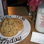 fresh baked cookies and milk delivered nightly to your room, YUM