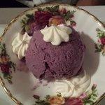 house churned blueberry ice cream