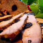 Middle Europe Style Pork Chop stuffed with Prunes in White Dessert Wine Sauce
