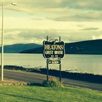 Heatons sign and view across the street