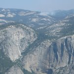 Dry Yosemite Fall (Wall) with Dark Hole fire in distance