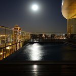 Moon from the roof and pool