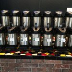 An array of coffees to sample