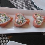 Heart-shaped sushi rolls at Spice