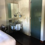 Glass wall between sink and bed. The bathroom is behind the sink area