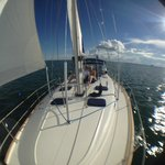 Comfortable and spacious foredeck of Beneteau 461