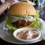 Best and cheapest burger in UBud at Deli  cat cafe