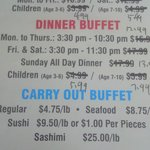 prices for buffet as of early August, 2014
