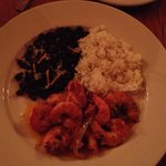 Shrimp with rice and black beans