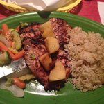 Island Jerk Chicken. $18.99  Delicious, but overpriced. I had a Cesar Side salad and it was an e