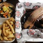 Chicken, ribs, and brisket