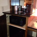 coffee maker, fridge, microwave