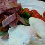 Brunch - Corn Fritters with back bacon, poached eggs and vine tomatoes