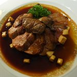 roasted duck in apple cider reduction