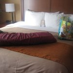 Luxury bed and bedding in King Suite room (minus body pillow and Trader Joe's bag!)