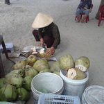 Coconuts for sale at Cua Dai Beach via the Hotel's Shuttle Bus