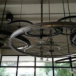 Ceiling decorated with bicycle wheels