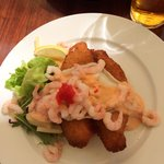 Fried plaice and shrimps with bread on lunch menu