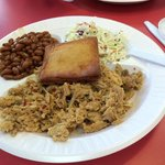 """A """"Regular Plate"""" - Choice of 1 meat, 2 sides, corn bread & a drink $7. Delicious!"""