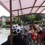 Cycle ferry across the river