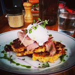 corn fritters with leg ham and a poached egg