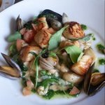 King Scallops with mussels, asparagus and gnocchi