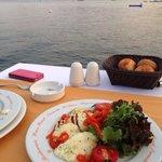 Halloumi salad nice view