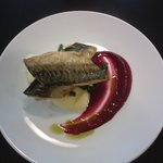 Mackeral, mash, spinach and beetroot sauce - special of the day