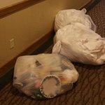 Dust bags in the corridor
