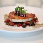 PESCE SPADA prosciutto-sage crusted swordfish, eggplant purée, puttanesca