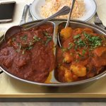 Set lunch  lamb curry and vegetable curry. This is two potion