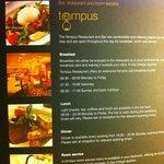 Tempus Restaurant opening hours!!
