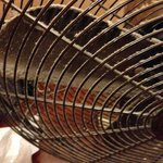 Hot weather, the fan they supplied, caked in dust.